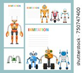 cartoon card invitation with... | Shutterstock .eps vector #750747400