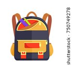 backpack for child with school... | Shutterstock .eps vector #750749278