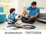 father and son compete in races ... | Shutterstock . vector #750752836