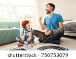 father and son compete in races ... | Shutterstock . vector #750753079