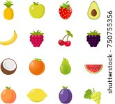 fruits fruit icon set flat... | Shutterstock .eps vector #750755356