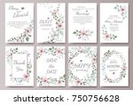 set of card with flower rose ... | Shutterstock .eps vector #750756628