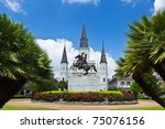 Saint Louis Cathedral and Jackson Square in the French Quarter New Orleans - stock photo