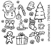 set of christmas doodle ... | Shutterstock .eps vector #750765166
