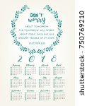 2018 calendar with bible quote...   Shutterstock .eps vector #750769210