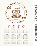 2018 calendar with bible quote...   Shutterstock .eps vector #750769363