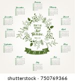 2018 calendar with bible quote...   Shutterstock .eps vector #750769366