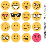 emotional round faces set | Shutterstock .eps vector #750773044