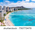 waikiki beach and diamond head... | Shutterstock . vector #750773470