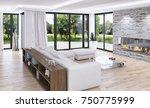 modern bright interiors. 3d...   Shutterstock . vector #750775999