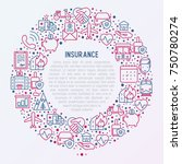 insurance concept in circle... | Shutterstock .eps vector #750780274