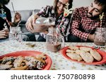 a group of happy friends... | Shutterstock . vector #750780898