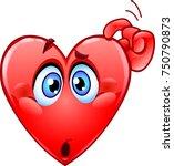 confused heart emoticon... | Shutterstock .eps vector #750790873