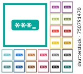 pin code flat color icons with... | Shutterstock .eps vector #750791470
