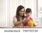 mother and daughter counting...   Shutterstock . vector #750792724