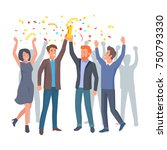 team of colleagues celebrate... | Shutterstock .eps vector #750793330