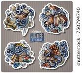 set of winter season cartoon... | Shutterstock .eps vector #750794740