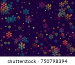red and blue snow flakes... | Shutterstock .eps vector #750798394