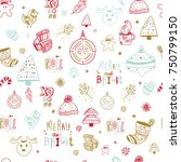 christmas doodle seamless... | Shutterstock .eps vector #750799150