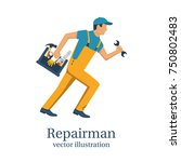 repairman. person with... | Shutterstock .eps vector #750802483