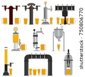 set of beer equipment for bar... | Shutterstock .eps vector #750806770