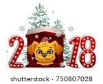 2018 year of yellow dog in... | Shutterstock .eps vector #750807028