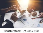 group of business people busy... | Shutterstock . vector #750812710