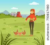 farmer woman feeding hens with... | Shutterstock .eps vector #750817480