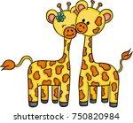 cute couple giraffe | Shutterstock .eps vector #750820984