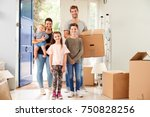 portrait of family carrying... | Shutterstock . vector #750828256