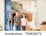 portrait of family carrying... | Shutterstock . vector #750828373
