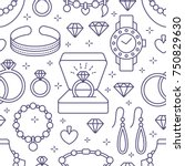 jewelry seamless pattern  line... | Shutterstock .eps vector #750829630