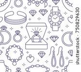 jewelry seamless pattern  line... | Shutterstock .eps vector #750829630