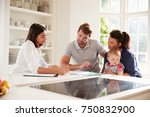 family with baby meeting... | Shutterstock . vector #750832900