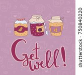 get well greeting card with... | Shutterstock .eps vector #750840220