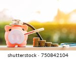 sick piggy bank use thermometer ... | Shutterstock . vector #750842104