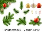 christmas set with pine tree... | Shutterstock .eps vector #750846340