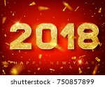 2018 happy new year. gold... | Shutterstock .eps vector #750857899