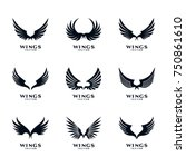 wings icon logo template vector ... | Shutterstock .eps vector #750861610