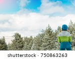 skier on the top of a snowy... | Shutterstock . vector #750863263