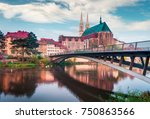 Small photo of Spectacular morning view of St Peter and Paula's Church, on the Polish border. Colorful autumn cityscape of Gorlitz, eastern Germany, Europe. Traveling concept background.