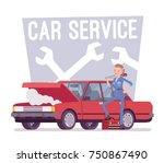 car service center. young... | Shutterstock .eps vector #750867490