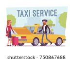 taxi service poster. female...   Shutterstock .eps vector #750867688