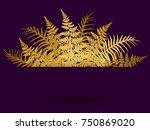 fern frond frame vector... | Shutterstock .eps vector #750869020