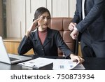 upset woman being scolded by...   Shutterstock . vector #750873934