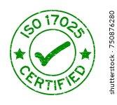grunge green iso 17025... | Shutterstock .eps vector #750876280