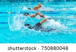 young man swimming freestyle in ... | Shutterstock . vector #750880048