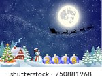 santa claus with gift bag and...   Shutterstock .eps vector #750881968