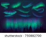 night sky  aurora borealis ... | Shutterstock .eps vector #750882700