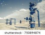 horizontal view of a wellhead... | Shutterstock . vector #750894874